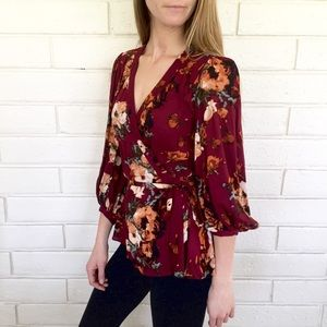 ANTHROPOLOGIE Floral Wrap Blouse